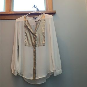 Express gold and white shimmery blouse